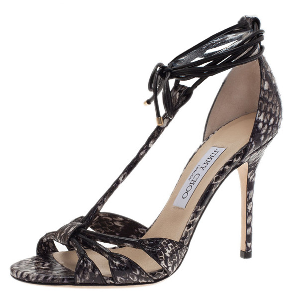 Jimmy Choo Elaphe and Leather Motive Ankle Wrap Sandals Size 38.5