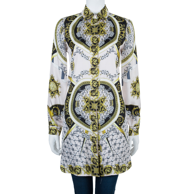 Versace Multicolor Silk Shirt Dress M