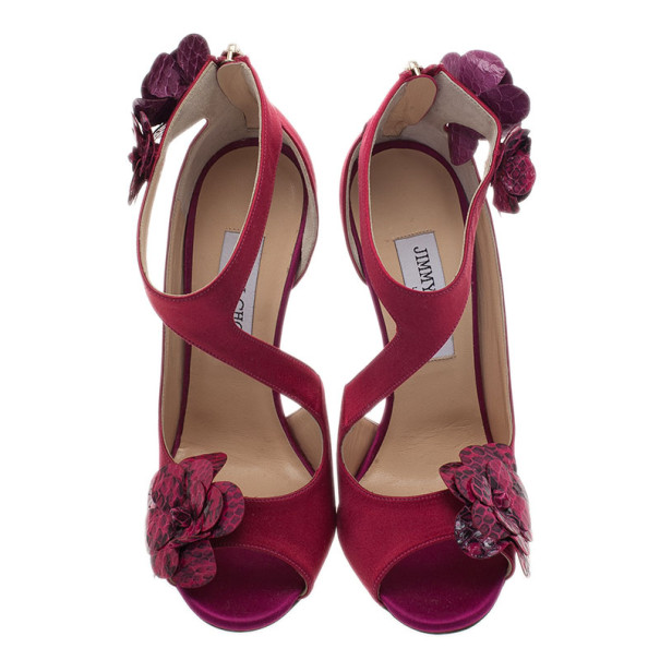 Jimmy Choo Pink Satin Vera Sandals Size 37