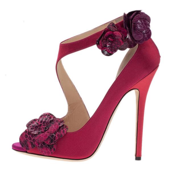 Jimmy Choo Pink Satin Vera Sandals Size 37