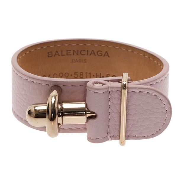 Balenciaga Light Pink Leather Tube Medium Bracelet 17CM