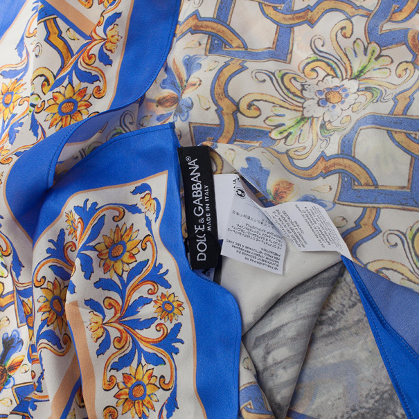 Dolce and Gabbana Blue Ceramic Temple Square Scarf