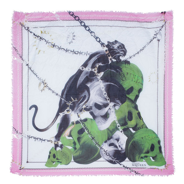 Alexander McQueen Panther Skull and Chain Print Square Scarf