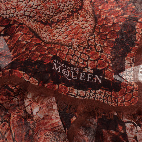 Alexander McQueen Red Morphing Python Square Scarf