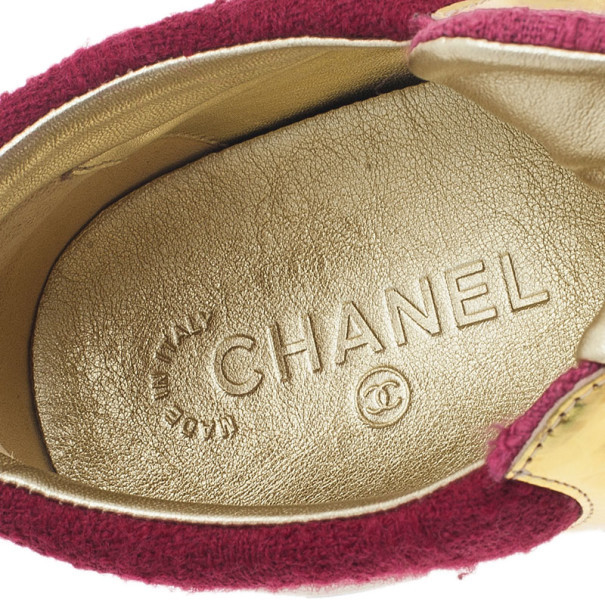 Chanel Pink Tweed and Leather Sneakers Size 40