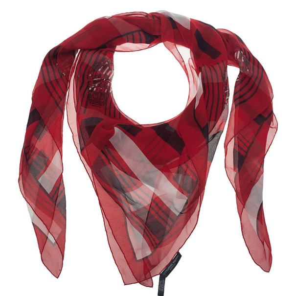 Alexander McQueen Red Geometric Print Skull Square Scarf