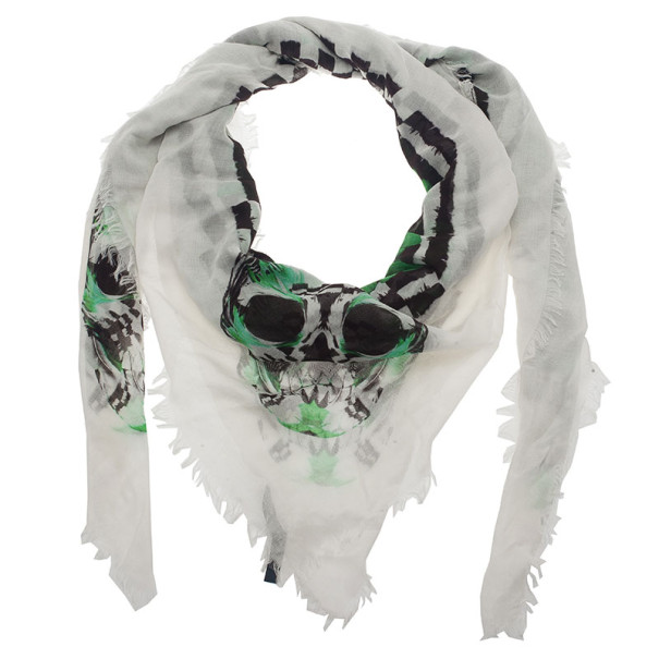 Alexander McQueen Feather Print Square Scarf