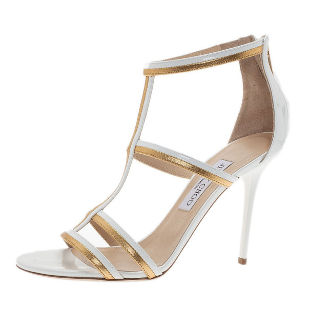 Jimmy Choo White and Gold Thistle Sandals Size 39.5