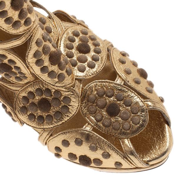 Alexander McQueen Gold Studded Cutout Platform Ankle Booties Size 40