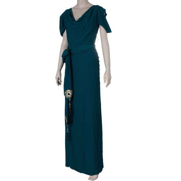 Gucci Green Embellished Gown S