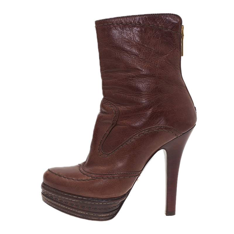 Prada Brown Leather Platform Ankle Boots Size 38