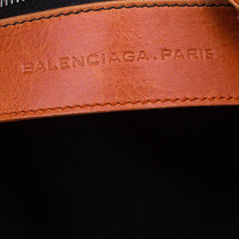 Balenciaga Orange Lambskin Giant Brogues Velo Convertible Tote