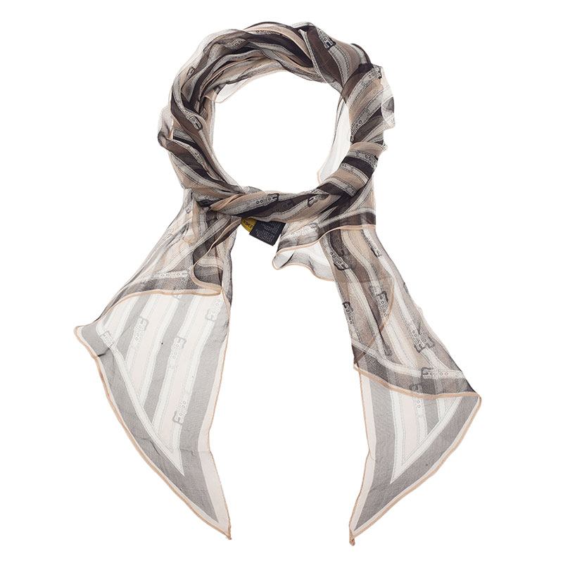Fendi Two Tone Silk Striped Buckle Print Scarf