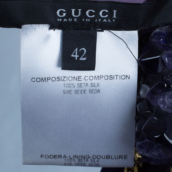 Gucci Amethyst Embellished Long Kaftan M