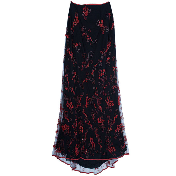 Valentino Black/Red Embellished Top And Skirt Set M