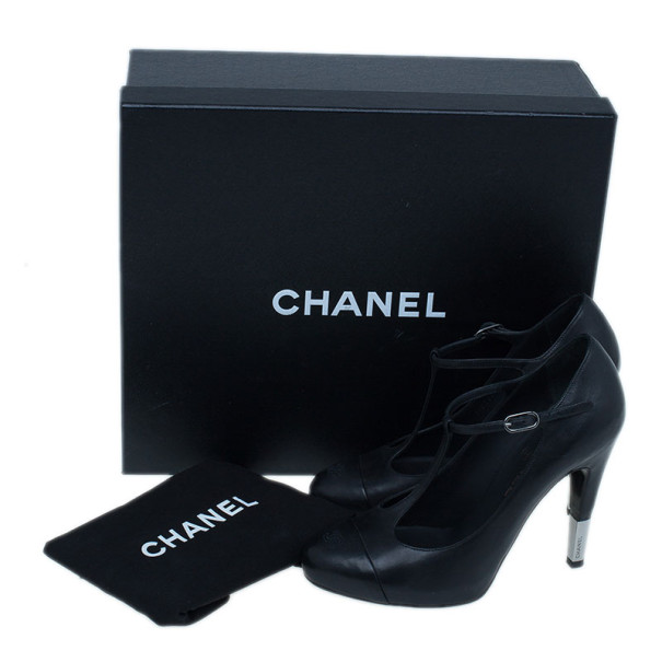 Chanel Black Leather CC T Strap Pumps Size 37.5