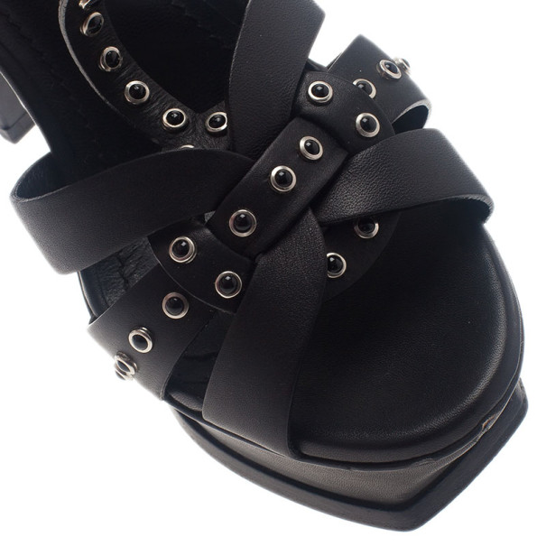 Saint Laurent Paris Black Studded Leather Tribute Platform Sandals Size 37.5