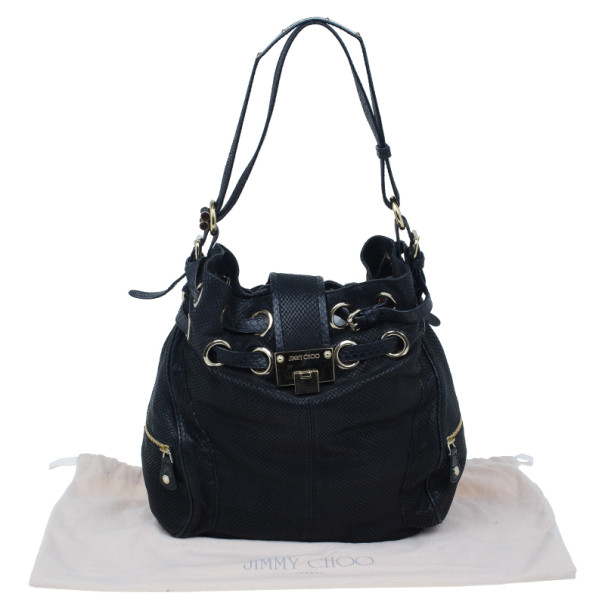 Jimmy Choo Black Leather Embossed Ramona Bucket Tote