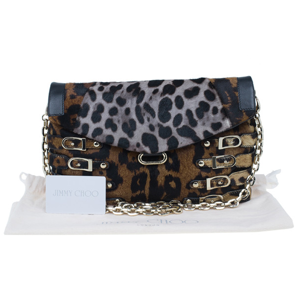 Jimmy Choo Biker Leopard Pony Hair Brix Convertible Clutch