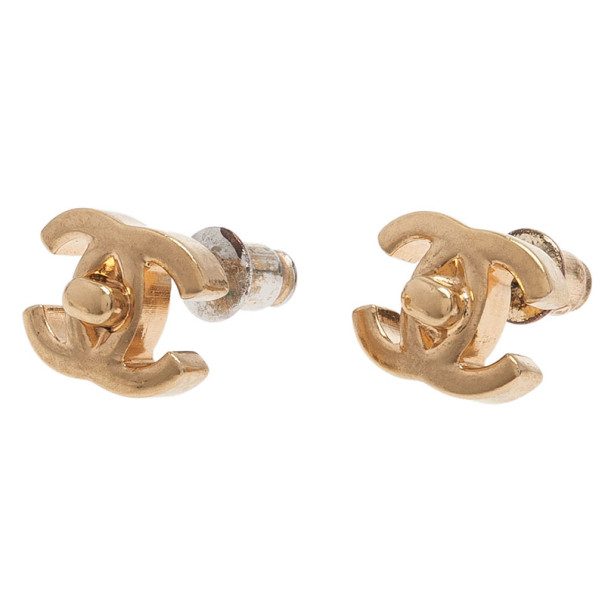 Chanel CC Turnlock Gold-Tone Mini Studs Earrings