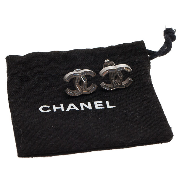 Chanel CC Logo Baguette Shape Crystal Earrings