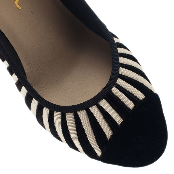 Chanel Black Velvet Striped Pumps Size 37.5