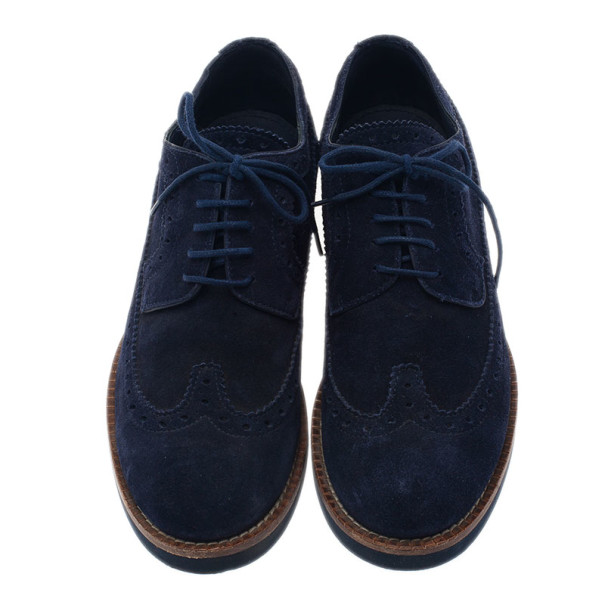 Louis Vuitton Blue Suede Lace Up Brogue Oxfords Size 37.5