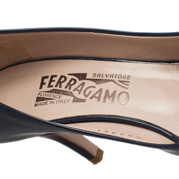 Salvatore Ferragamo Blue Patent Vara Bow Peep Toe Pumps Size 36.5