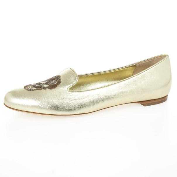Alexander McQueen Gold Metallic Leather Skull Smoking Slippers Size 37.5