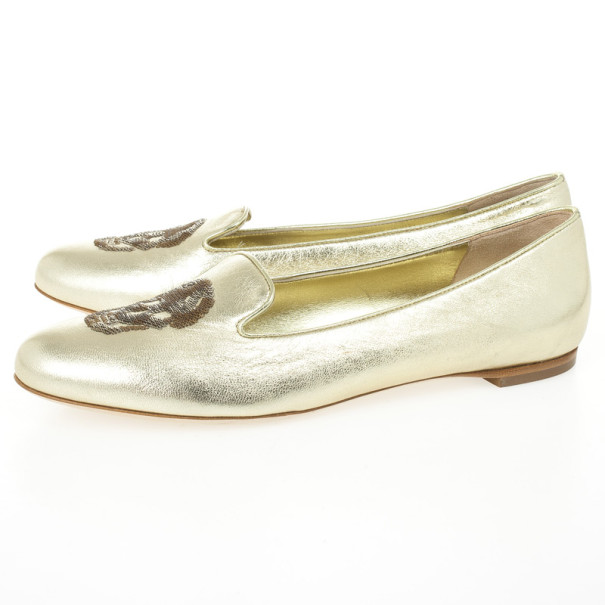 Alexander McQueen Gold Metallic Leather Skull Smoking Slippers Size 37.5
