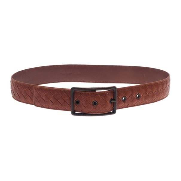Bottega Veneta Brown Intrecciato Leather Belt 90CM