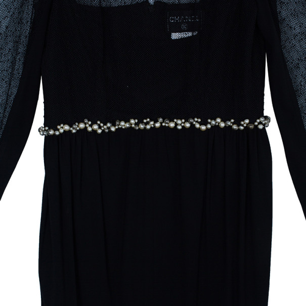 Chanel Black Pearl and Sequin Embellished Dress M