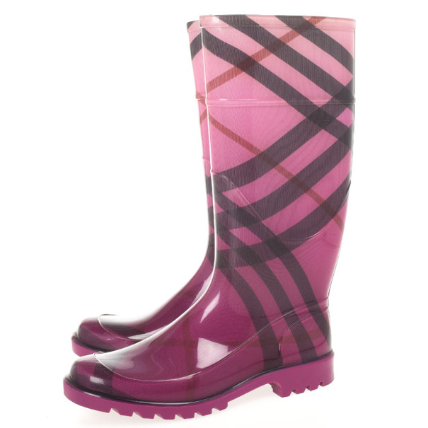 Burberry Purple Novacheck Rubber Rain Boots Size 39
