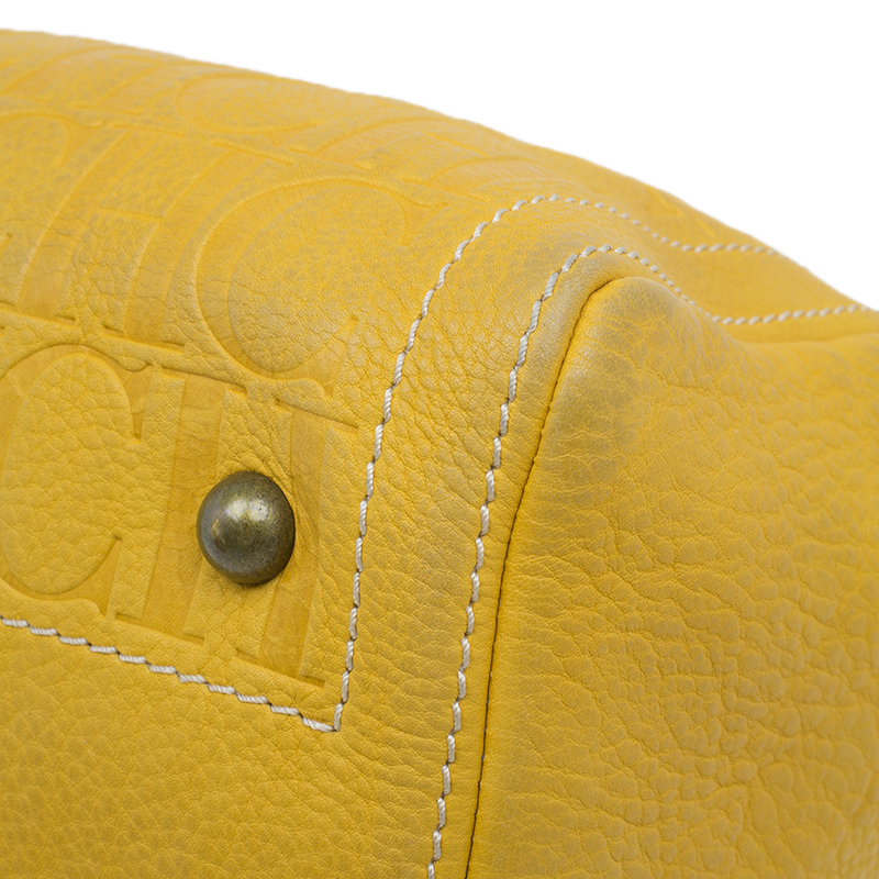 Carolina Herrera Yellow Leather Andy Boston Bag