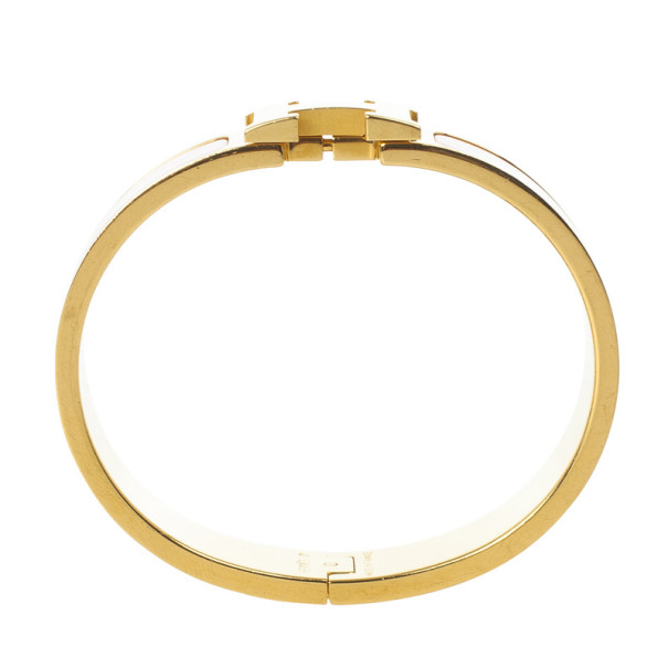 Hermes Clic-Clac H Pink Enamel Gold Plated Bracelet PM