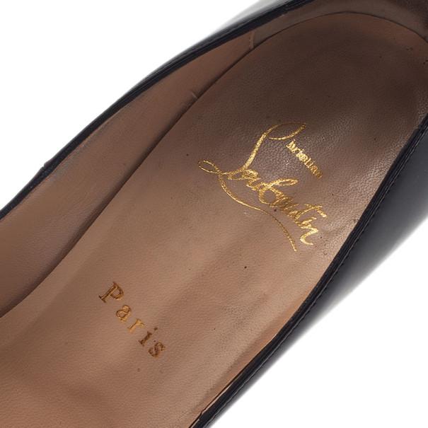 Christian Louboutin Black Patent Lady Peep Toe Platform Pumps Size 38.5