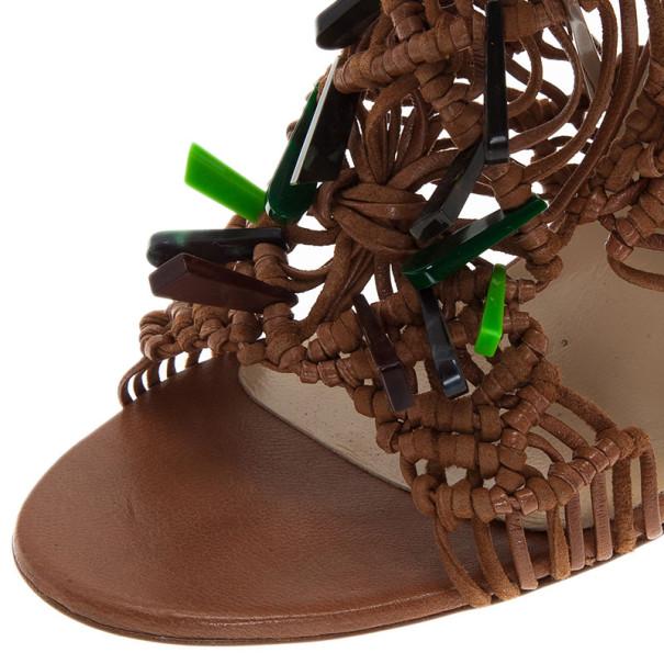 Jimmy Choo Brown Iris Embellished Macramé Leather Sandals Size 40