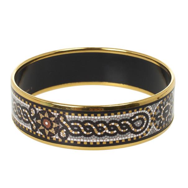 Hermes Mosaic Printed Enamel Gold Plated Wide Bracelet