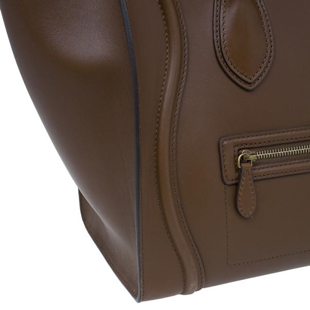 Celine Brown Palmelato Leather Micro Luggage Tote