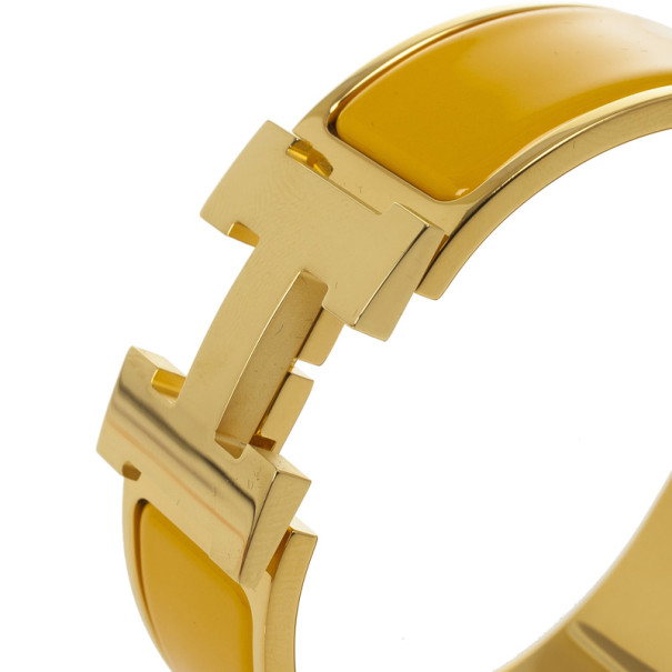 Hermes Clic-Clac H Soleil Yellow Enameld Gold Plated Bracelet