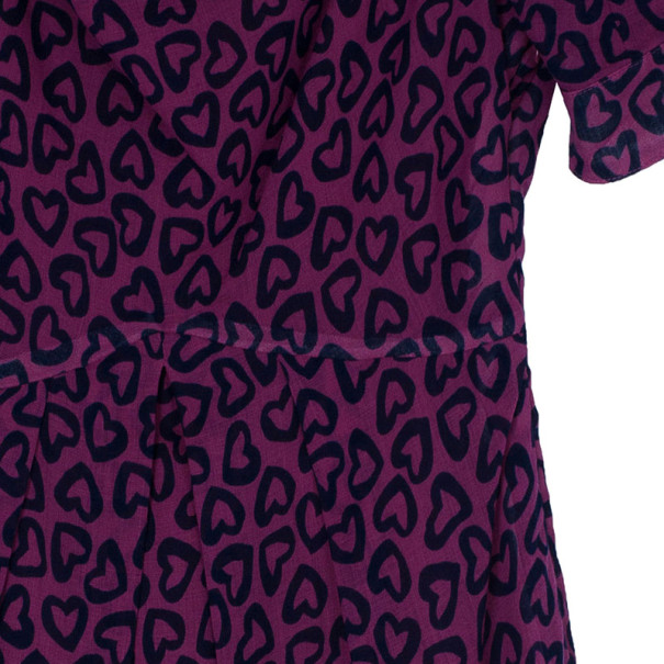 Marc by Marc Jacobs Magenta Heart Print Dress S
