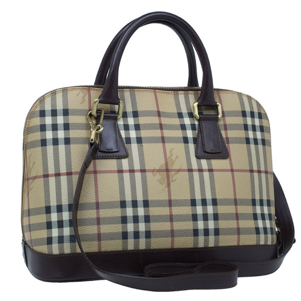 Burberry Beige Haymarket Leather Dome Satchel