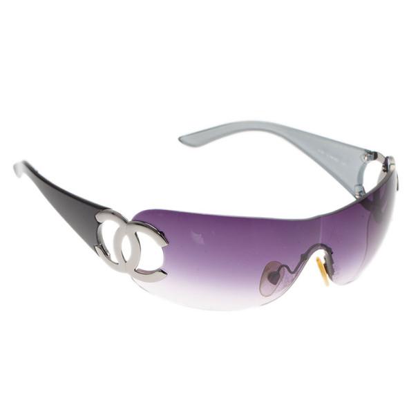 Chanel Black CC Logo Shield Sunglasses