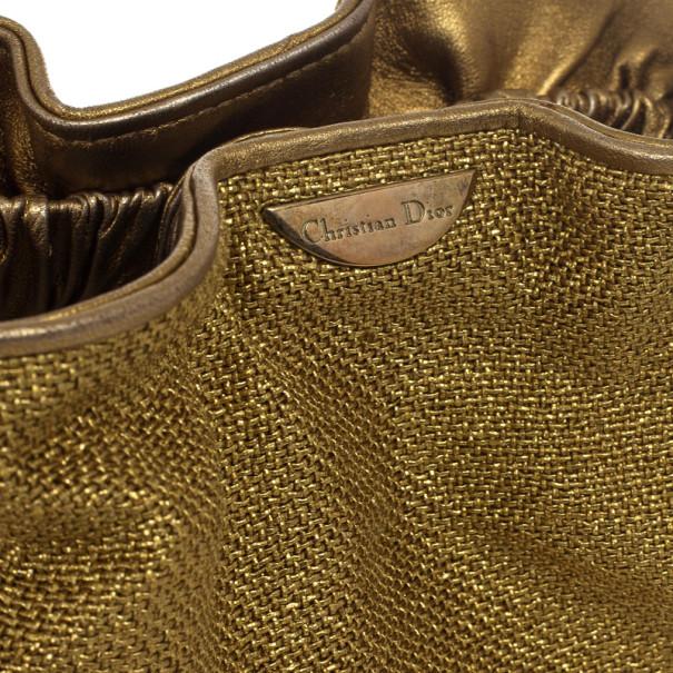 Christian Dior Metallic Beaded Handle Mini Hobo