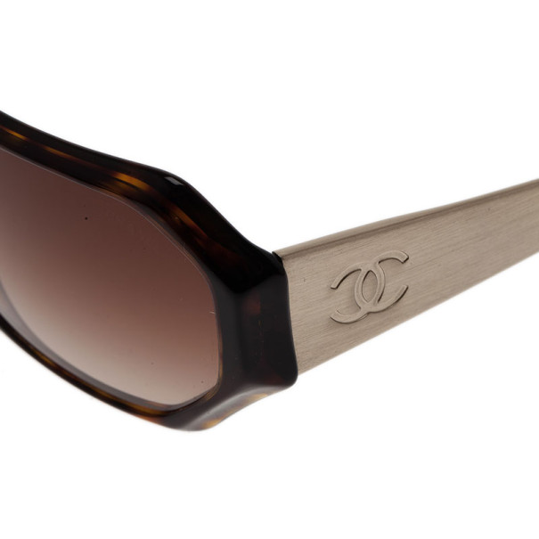 Chanel Tortoise Frame Rectangle Sunglasses