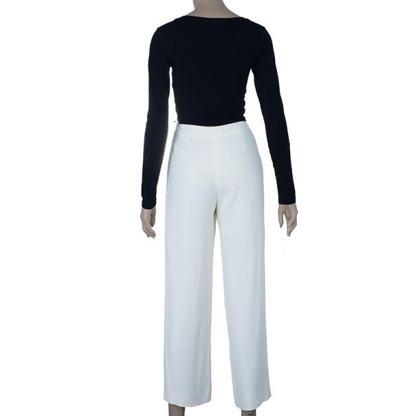 Chanel White Silk Wide-leg Trousers M