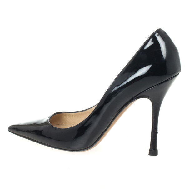 Jimmy Choo Black Patent Anouk Pointed Toe Pumps Size 38