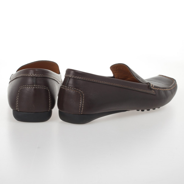 Tod's Brown Leather Loafers Size 38.5