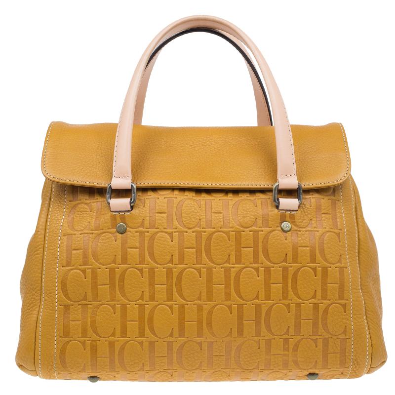 Carolina Herrera Tan Monogram Leather Satchel Bag