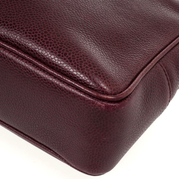 Chanel Vintage Maroon Caviar Leather Tote Shoulder Bag